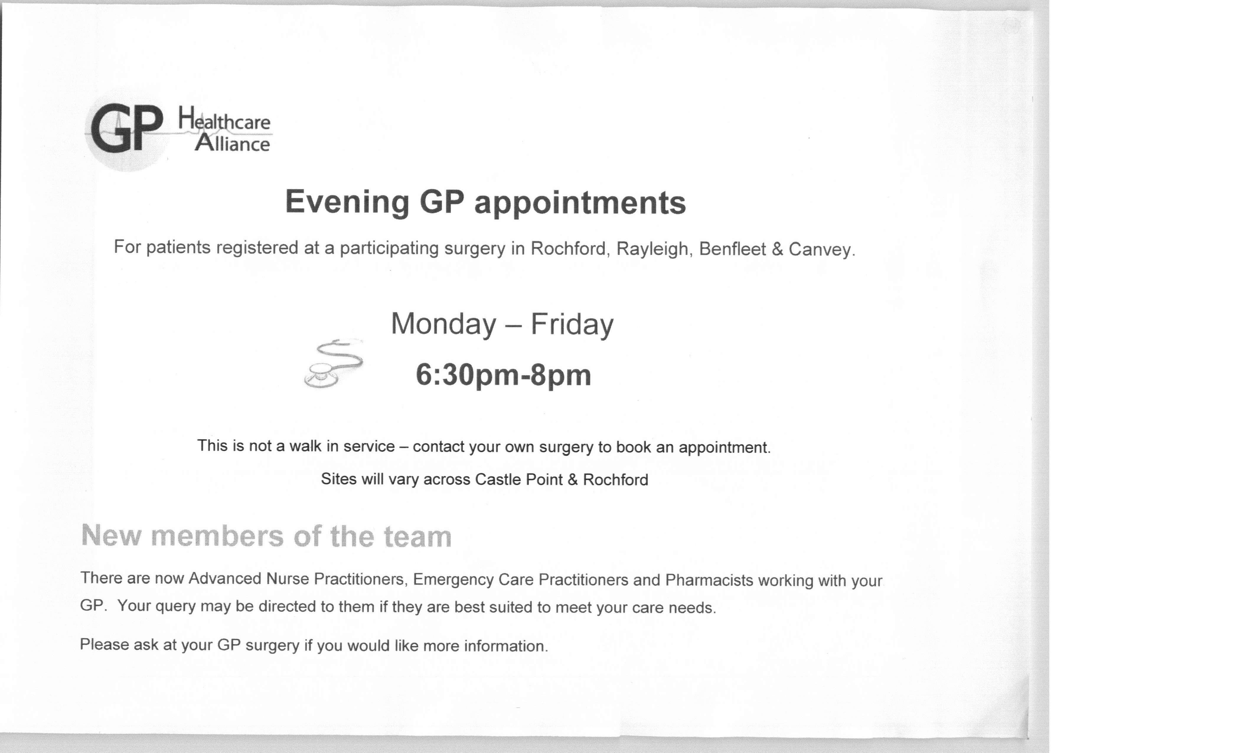Evening GP appointments