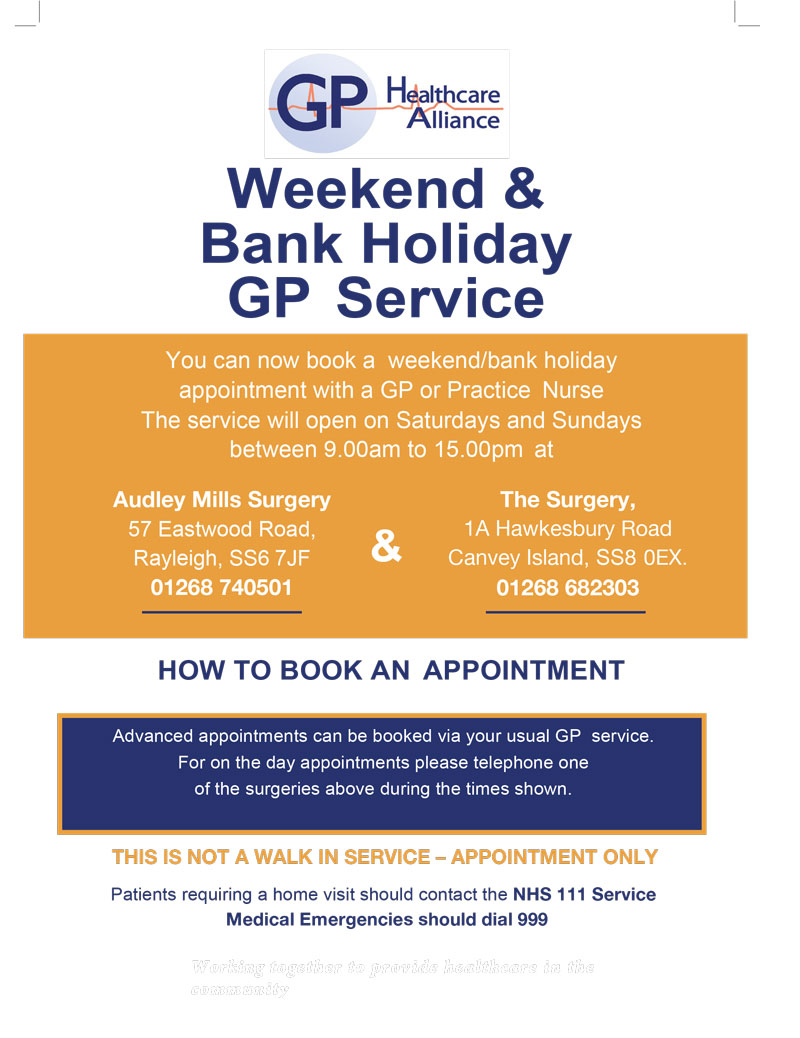Weekend & Bank Holiday GP Service